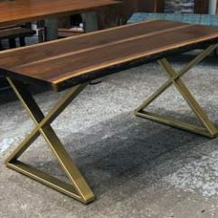 Kitchen Table Legs How To Decorate Cabinets Live Edge Slab Dining Tables Walnut Slabs And Tops Kiln Dried Black With Crosses X Gold Brass Steel