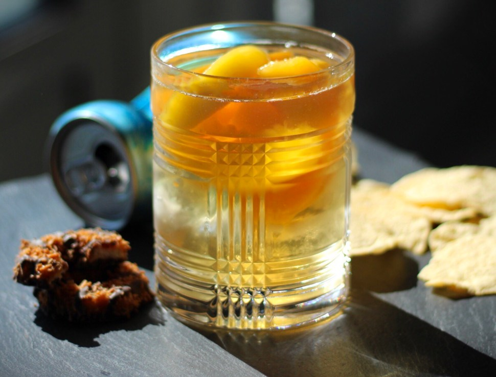 Lazy peach and bourbon cocktail