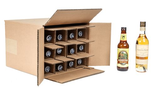 Twelve bottle beer shipping box with bottle insert
