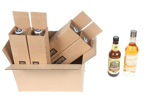 shipping box for 4 beer bottles
