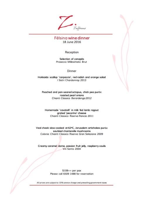 felsina wine dinner zafferano 180616