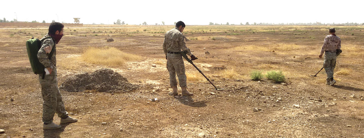 Peshmerga practice using SoA-provided metal detectors after receiving training from their US advisors