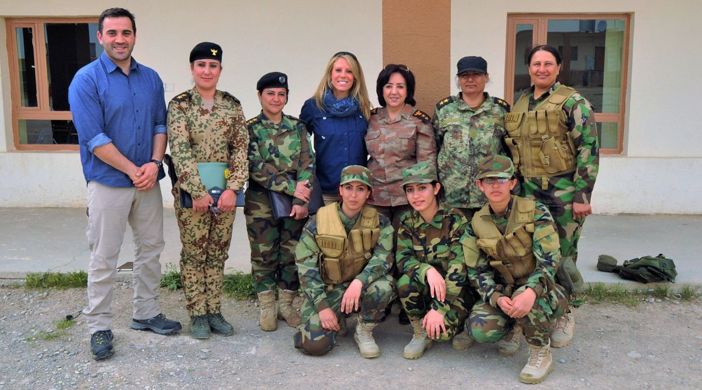 SoA Field Rep's, Nicholette and Zack meet the female Peshmerga Commander – Colonel Nahida Ahmed and Officers for the donation of over 250 medical kits for the women warriors to use in their fight against ISIS