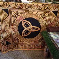Celtic throw, altar cloth, triple goddess, triskele