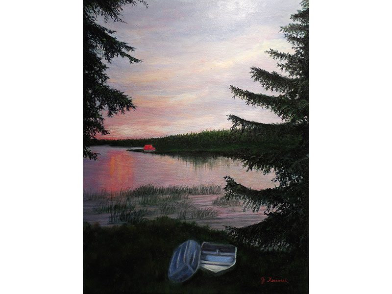 "Quebec Sunset 14""x18"" by Josie Korimsek"