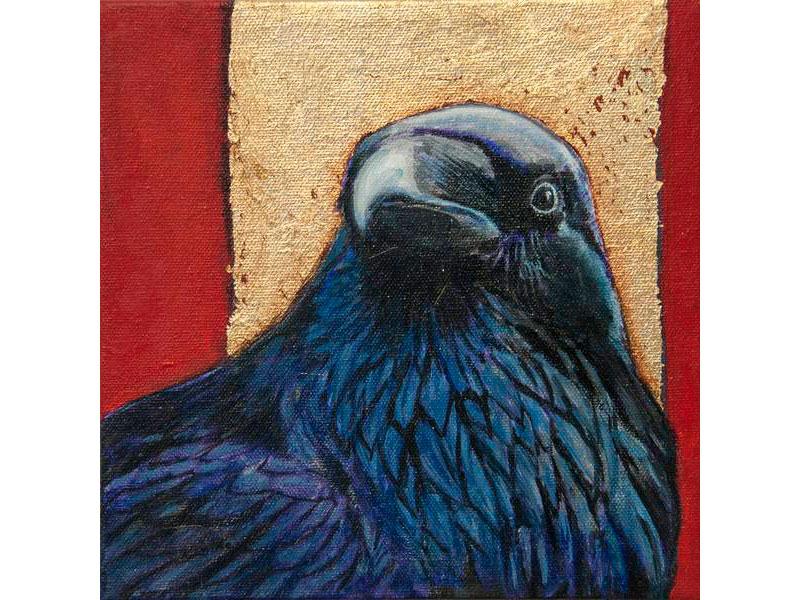 Minimalist Halo Raven by Barbara Bickell 8 x 8 inches