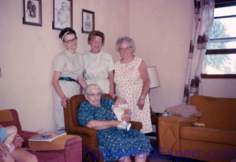 Five Generation Photo: Great-Great-Grandpa Fawcett, Grandma Estes, Grandma Peterson, Dianne and baby Ron, 50 years ago.