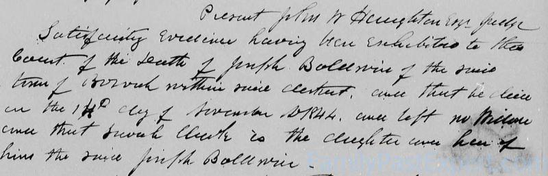 Joseph Baldwin, death date.