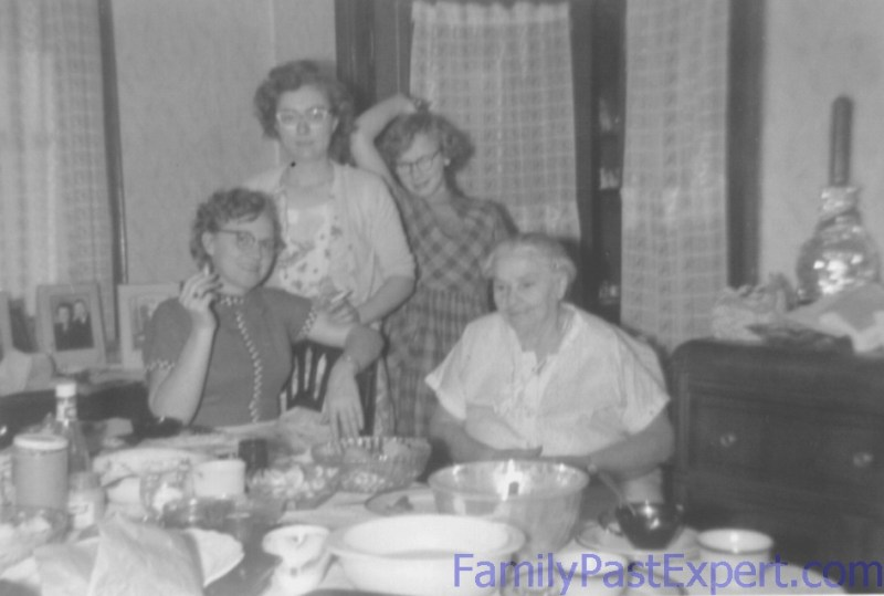 Barbara with her granddaughter, Thelma, granddaughter-in-law Mary, and great-granddaughter Dianne. Christmas 1956.