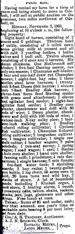 Meyer farm sale, Odebolt Chronicle, 22 Oct 1904.