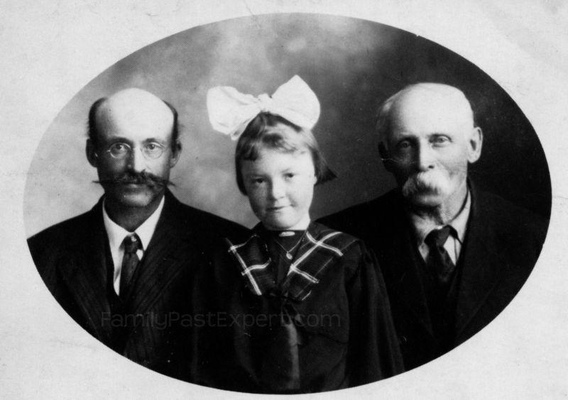 Three Generations: Harry, Lona, and Hugh Fawcett.