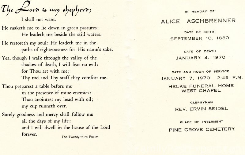 Alice Aschbrenner, funeral card.