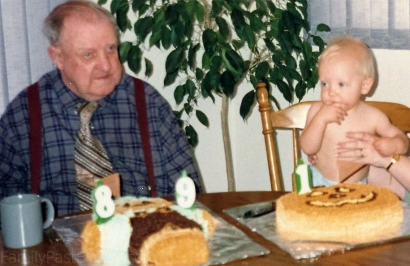 Bennett Nils Christianson (1902-2000) and Philip David Krueger (1990-1992), celebrating their birthdays, 13 Oct 1991.