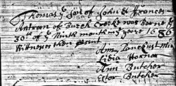 Thomas Antrim, birth record.