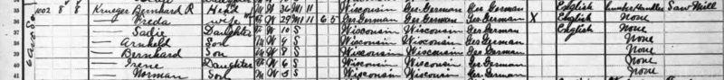 1910 Federal Census, Bernhard and Frieda Krueger family.