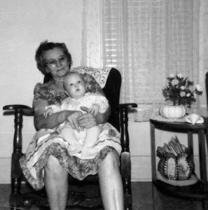 Margaret and her first grandchild.