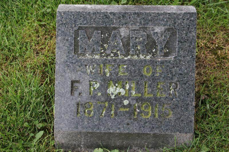Mary Leona Stolp Miller, grave.