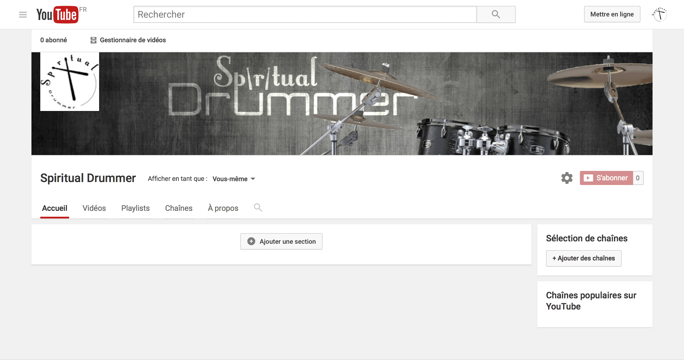 Capture d'écran YouTube Spiritual Drummer