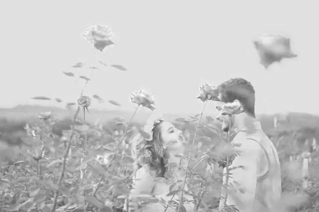 カップル 夫婦 結婚式 お花畑