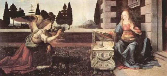 レオナルド・ダ・ヴィンチが描いた『受胎告知』ウフィツィ美術館収蔵