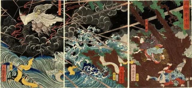 『椿説弓張月』より崇徳上皇が讃岐で崩御し、怨霊になる瞬間(歌川芳艶画)