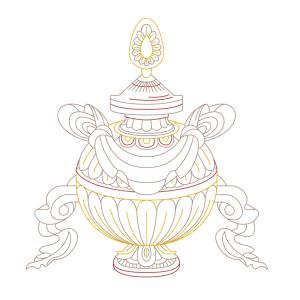 spiritual graphic design, graphisme spirituel, graphisme, spirituel, bien-être, motif, digital artwork, illustration, Inde, vase aux tresors, kalasha, auspicious, sign, signes, auspicieux, buddhism, bouddhisme, tibet, dharamshala, 8 signes, astamangala