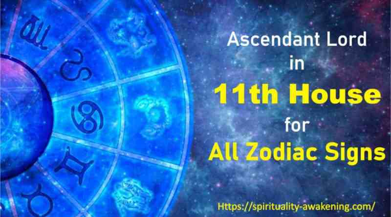 ascendant lord in 11th house, lagna lord in 11th house, 1st house lord in 11th house, first house lord in 11th house, rising sign lord in 11th house,