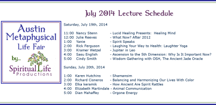 2014 April Metaphysical Fair Lecture Schedule