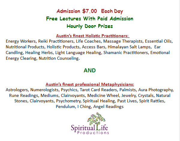 Combined Austin Metaphysica Life and Holistic Expo January 2016 Fair Announcement