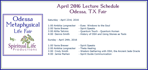 2016 April Odessa Metaphysical Fair Lecture Schedule