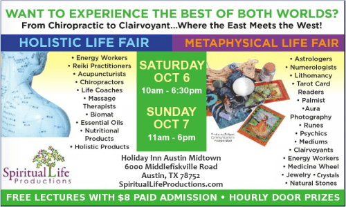 Austin Metaphysical and Holistic Life Expo - October 2018 - psychic readings, numerology, astrology, tarot, palmistry, crystal healing, natural products and so much more!