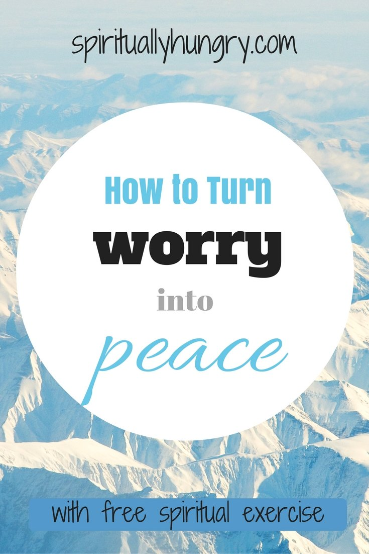 Ever worry about the future, come on who hasn't? Worry is a universal experience, but it doesn't have to be so. Come with spirituallyhungry.com and learn how to give worry over to God and bear the fruit of peace. Free spiritual practice included to help you turn worry into peace.