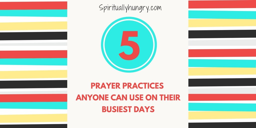 Want a better connection to God throughout your day, but can't ever seem to find the time? Relax, we got you covered. In this new free ebooklet, spirituallyhungry presents 5 simple prayer practices to help you grow closer to God in the midst of your busyness.