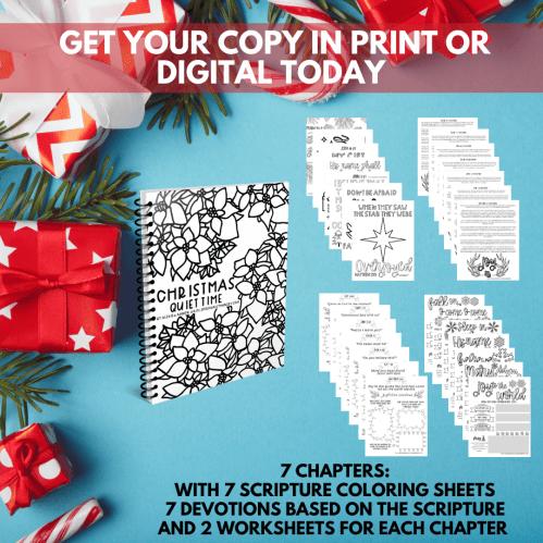 Christmas Quiet Time Devotional Workbook | Scripture Coloring Sheets | Quiet Time Resources
