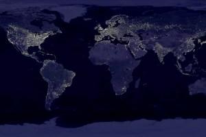 宇宙から見た地球の明るさ