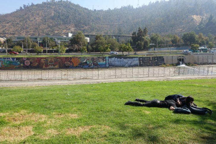 芝生の上のチリ人