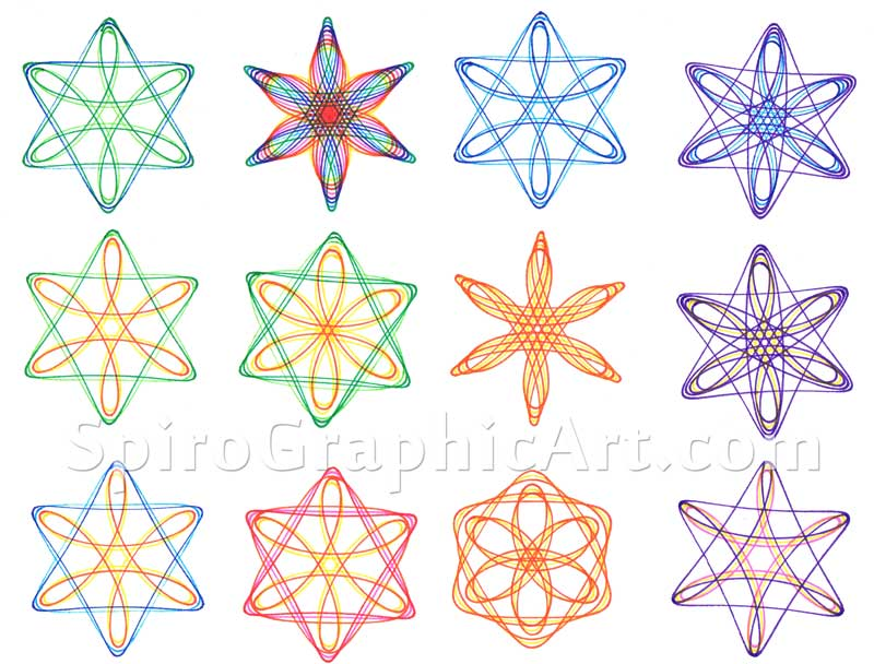 Variations on the Star or David or hexagram using Wheels 32 and 64.