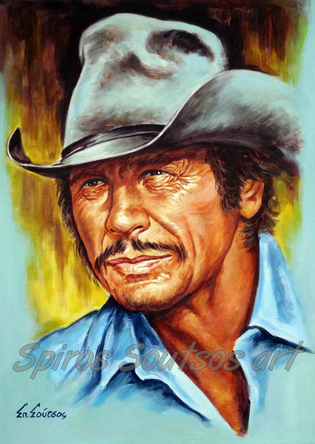 Charles Bronson painting portrait, movie poster, original painted art
