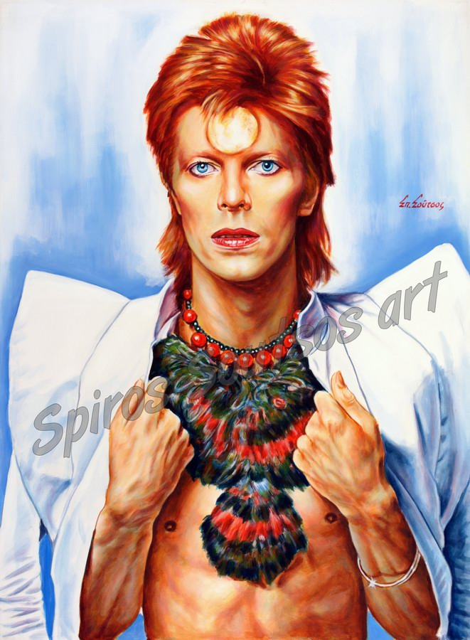 David Bowie painting portrait, Ziggy Stardust original hand-painted poster artwork