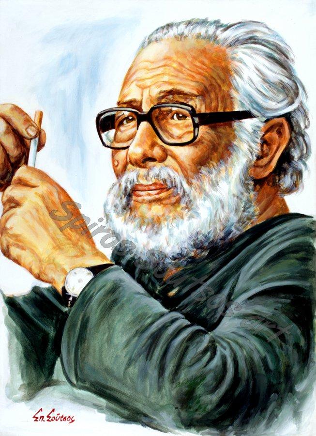 Κάρολος Κουν πορτραίτο, αυθεντικός πίνακας ζωγραφικής, αφίσα