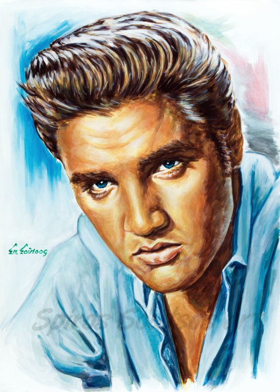 Elvis Presley painting portrait, poster, original painted artwork