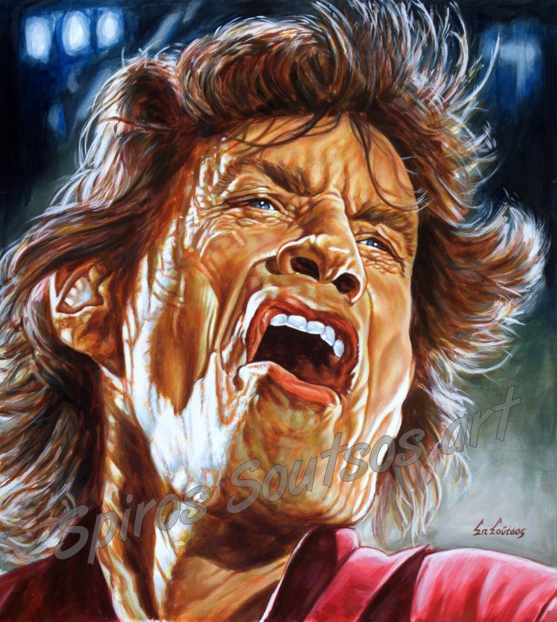 Mick Jagger painting portrait, The Rolling Stones poster, original painted artwork