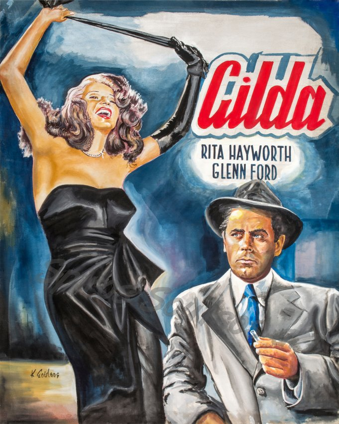 "Rita Hayworth, Glenn Ford, ""Gilda"" 1946 painting movie poster"
