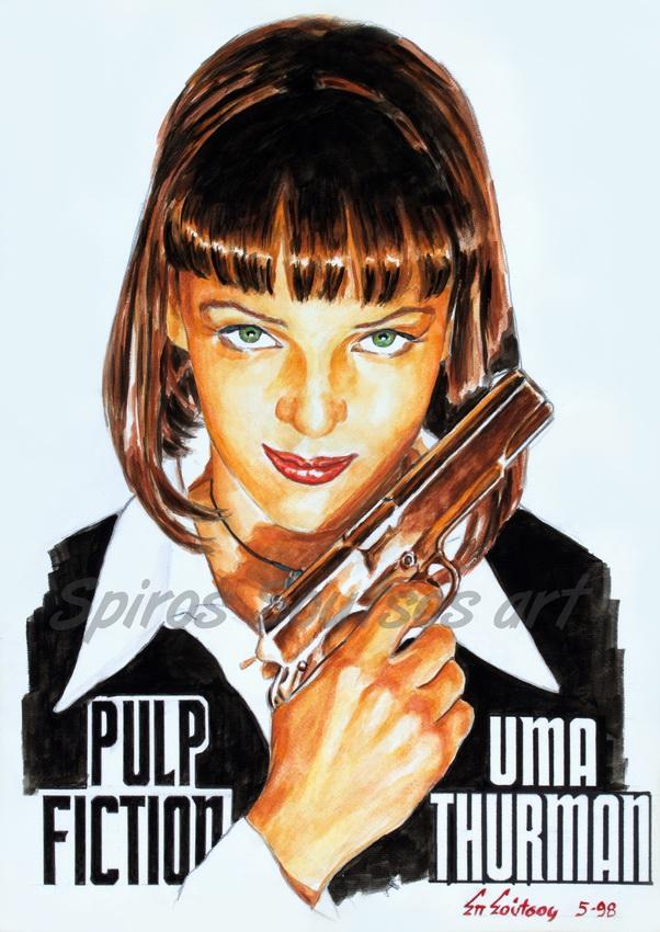 Pulp Fiction 1994 Uma Thurman (Quentin Tarantino) original painting portrait artwork