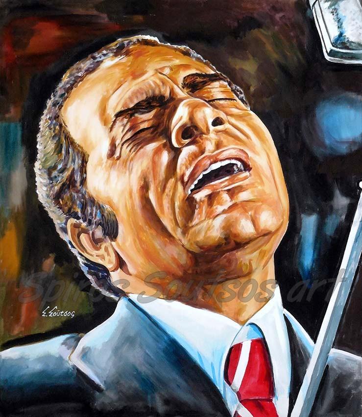 "Stelios Kazantzidis / Στέλιος Καζαντζίδης ""Υπάρχω"" πορτραίτο αφίσα, αυθεντικός πίνακας ζωγραφικής"
