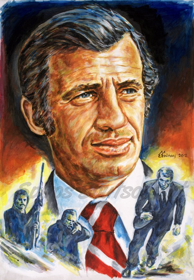 "Jean-Paul Belmondo portrait, ""L'Héritier"" 1973 movie poster, acrylic painting on canvas"