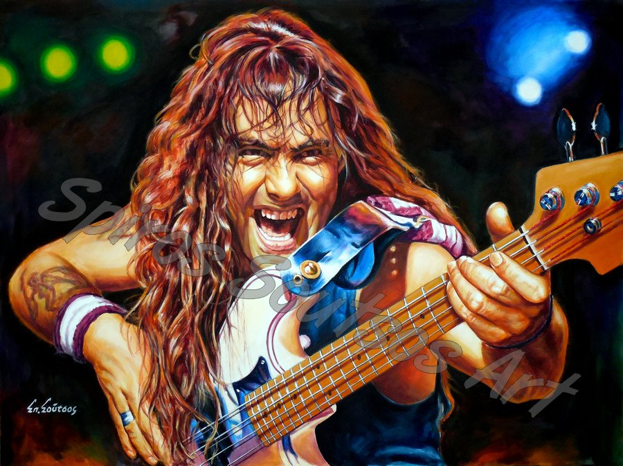 Steve Harris painting portrait, Iron Maiden poster, original hand-painted artwork
