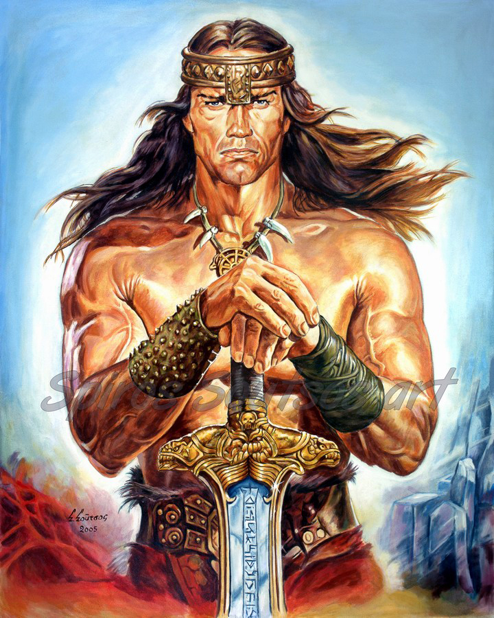 "Arnold Schwarzenegger ""Conan The Destroyer"" 1984 movie poster, original painting portrait"
