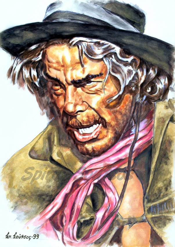 Cat Ballou (1965) movie poster, Lee Marvin original painting portrait artwork