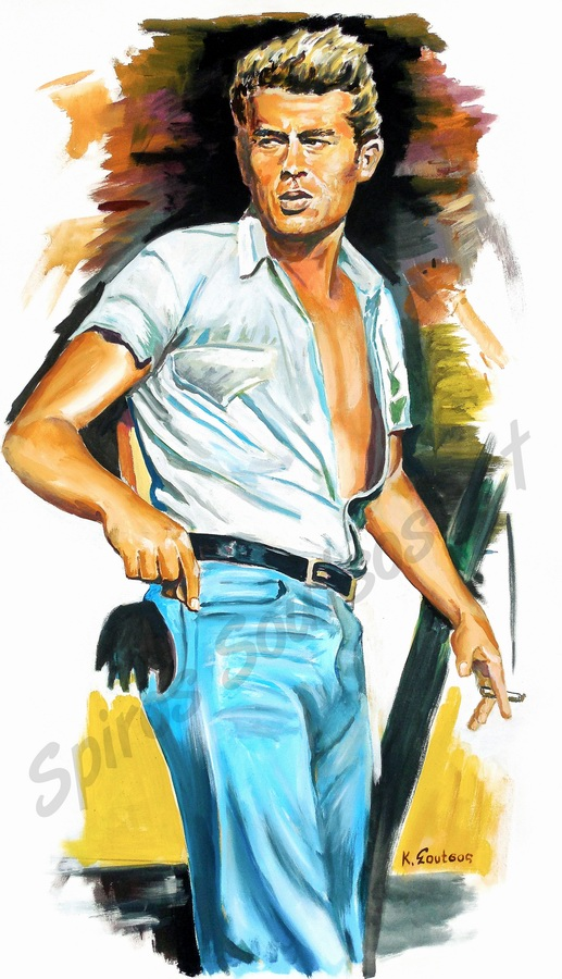 "James Dean ""The Giant"" 1956 painting portrait, movie poster art"
